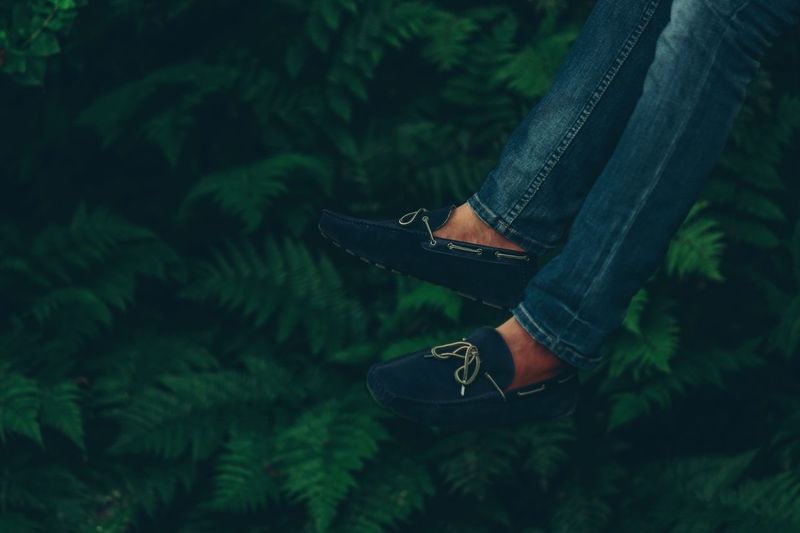 Low section of person wearing shoes against plants
