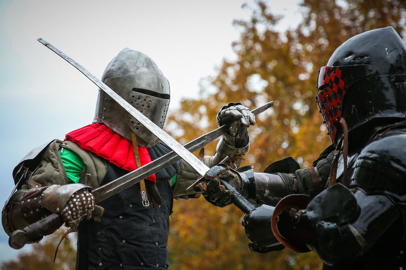 MEDIEVAL FIGHTERS PERFORMING IN CORDOBA ARGENTINA AN EXHIBITION Antique Arms Edge Fight Guerreros Holding Mask Medieval MedievalTimes Metal Metalhead Sword Unrecognizable Person Weapons
