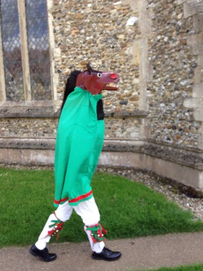 The horse annoying the Morris Dancers Green Color Full Length Outdoors Day Standing Animal Themes One Person Architecture Clown People