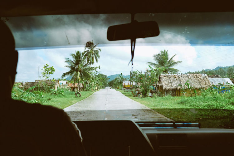 Taxi ride on through the jungle Beauty In Nature Car Car Interior Dashboard Day Growth Land Vehicle Mode Of Transport Nature No People Outdoors Palm Tree Rear-view Mirror Road Sky Taxi The Way Forward Transportation Tree Vehicle Interior Windscreen Windshield