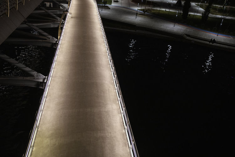 Architecture Built Structure Transportation No People Metal High Angle View Outdoors Day Rail Transportation Connection Nature Illuminated Bridge Railing City Diminishing Perspective Direction Long