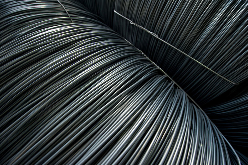 High angle view of barbed wires in industry