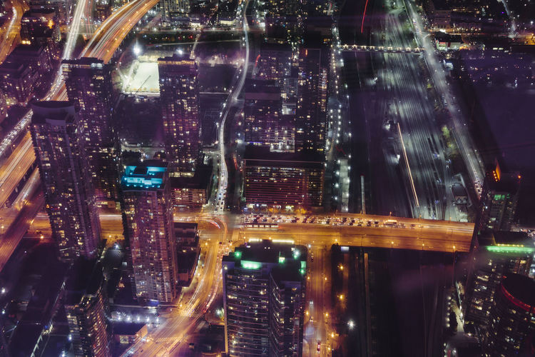 City Light Painting Mobility In Mega Cities Top Buildings Height Top View Tower