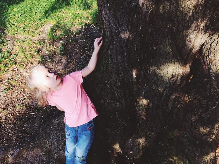 Girl standing by tree during sunny day