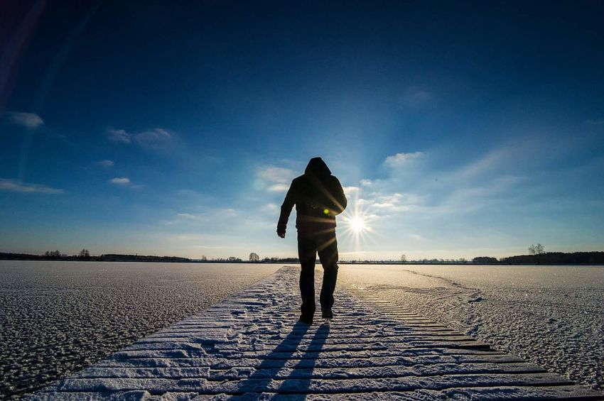 Sky One Person Blue Standing Cloud - Sky People Outdoors Nature Day Photography Morning Light Winter Ice Snow