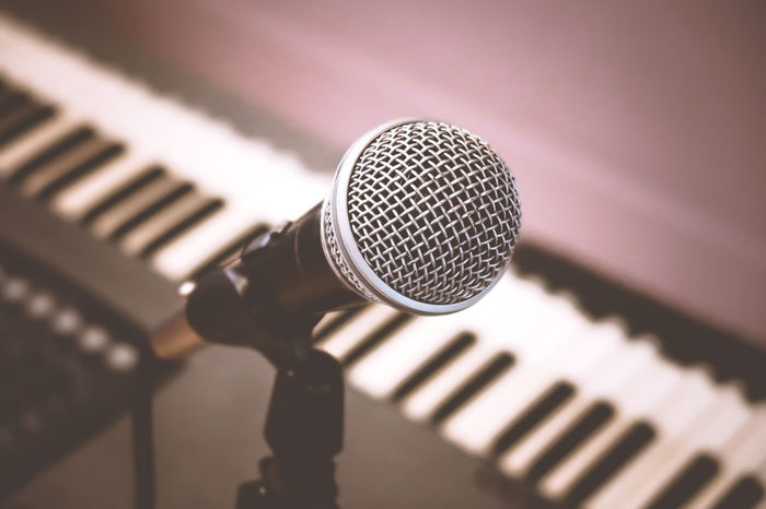 Microphone and piano Mic Music Piano Arts Culture And Entertainment Chord Close-up Composing Concept Entertainment Indoors  Instrument Keyboard Instrument Microphone Music Musical Musical Instrument Musician No People Nobody Pianist Piano Key Piano Keys Record Synthesizer Vocal