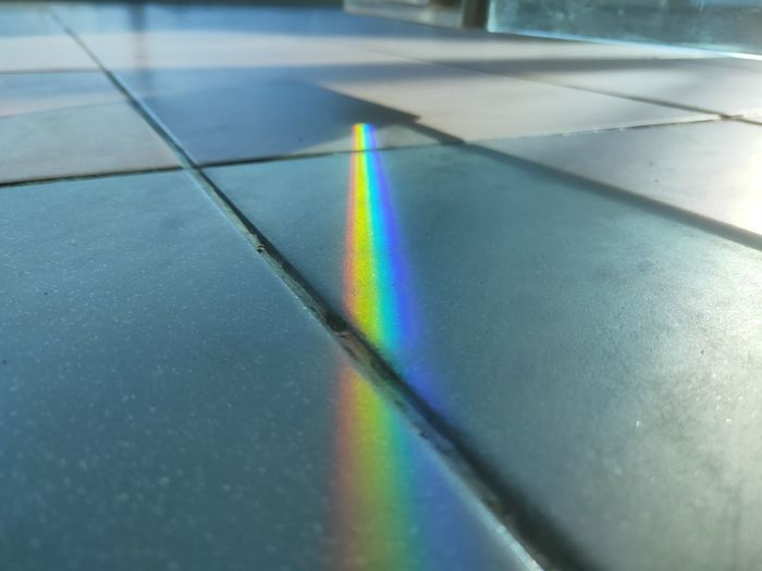 High angle view of rainbow on floor