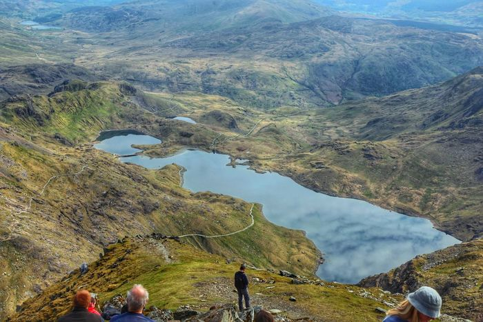 view from the top of Snowdon Mountain Beauty In Nature Scenics Outdoors Sky Reflection Wales Landscape Physical Geography Wales Colorful Landscape Water Cloud - Sky