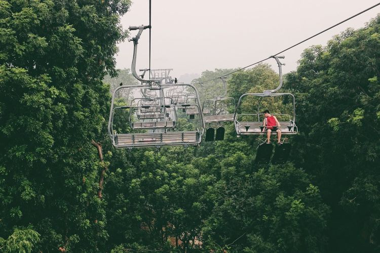 Adventure Beauty In Nature Day Green Color Growth Leisure Activity Lifestyles Men Mode Of Transport Nature One Person Outdoors Overhead Cable Car People Real People Ski Lift Sky The Great Outdoors - 2017 EyeEm Awards Transportation Tree Women Neighborhood Map