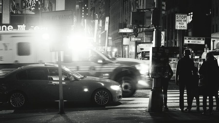Emergency! NYC Street Photography Streetphoto_bw Night Photography Black And White Photography Ambulance Lights Bright Sony A6000 Project365