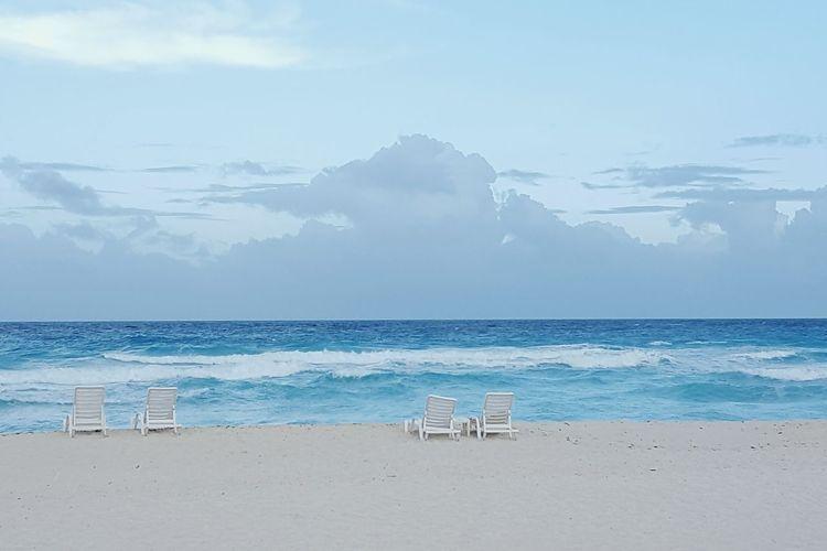 Couple Beach Water Sand Cancun Tropical Scenery Beach Chair Chairs Travel
