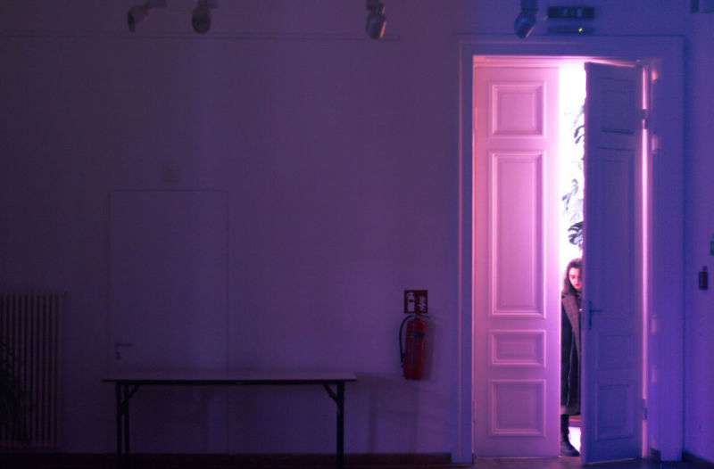 Doors Girl Power Light Up Your Life Lighthouse Lighting Equipment Lights Architecture Bathroom Door Doorway Girl Portrait Illuminated Indoors  Light And Shadow Light And Shadows Light In The Darkness Light Trail Lightning Mirror Night One Person Open Door People Purple Young Adult