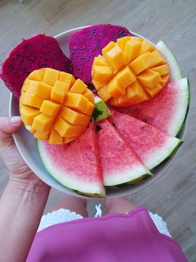 fruit platter Watermelon Dragon Fruit Mango Multi Colored Fruit Dessert SLICE Healthy Lifestyle Summer Pitaya Fruit Salad Mango Fruit Tropical Fruit