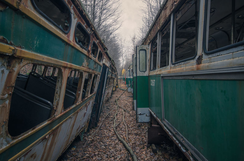 Abandoned Abandoned Places Autumn Built Structure Day Deterioration Exploration First Eyeem Photo Historic Nature No People Obsolete Old Railroad Track Relaxing Run-down Rural Scene Rurex Rurexeploration Sky Traveling Trolley