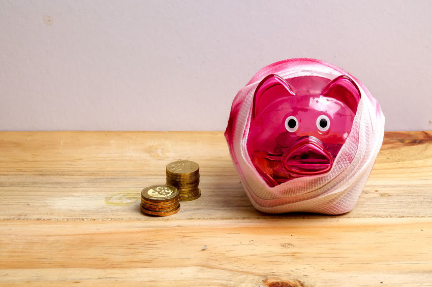 Green Color Piggy Bank Bandage Depreciation Depression Insurance Price Real People Saving Money Sick