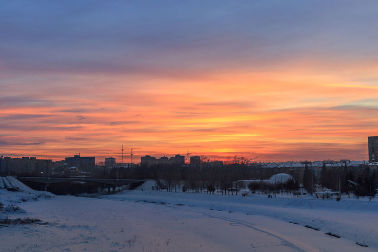 Winter evening skyline in Kemerovo city Winter Cold Temperature Snow Sunset Sky Cloud - Sky Orange Color Land Evening Skyline Evening Sky Siberia Siberia, Russia