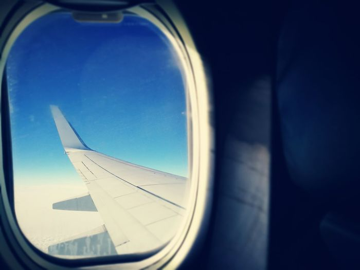 Close-up of airplane wing