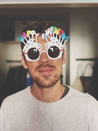 Happy Birthday HappyBirthday Birthday One Person Headshot Front View Portrait Indoors  Glasses Young Men Real People Men Beard Lifestyles Casual Clothing Young Adult Sunglasses Home Interior