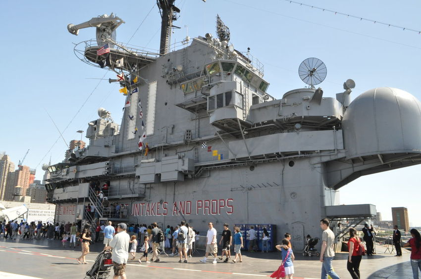 Air Defense Aircraft Carrier Armed Forces Battleship Blue Built Structure Day History Intrepid Intrepidseaairspacemuseum Leisure Activity Memorial Day Military Military Life Mixed Age Range Navy Ship Outdoors Remembering Sea, Air, Space Museum Ship Deck Sky Tourism Tourist United States Military