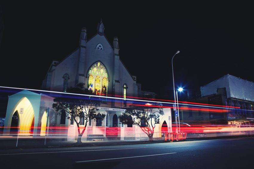 Baptist church Night Light Trail Long Exposure Illuminated Building Exterior Outdoors City Architecture Speed Beauty Lifestyles Impressionist Effect Cathedral Church Reflection Perfection  History Place Of Worship Religion No People Inside Cityliving Imagination Collection Shadow Architecture