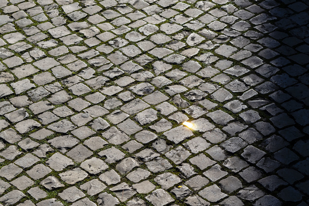 pattern, no people, full frame, cobblestone, backgrounds, footpath, high angle view, textured, street, city, directly above, gray, outdoors, day, close-up, metal, shape, transportation, road, stone, paving stone