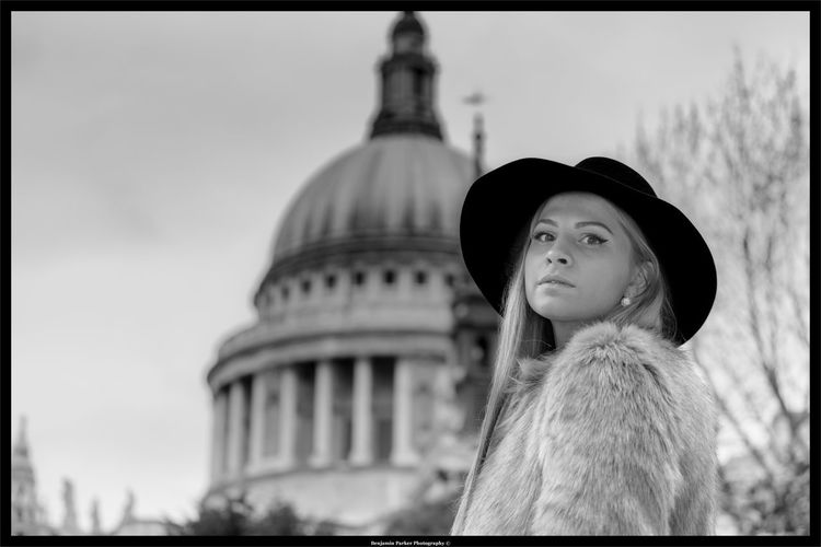 London girl, St Pauli Architecture Black And White Bokeh Building Exterior Day Dome Focus On Foreground Girl With Hat On Government Looking At Camera One Person Outdoors People Politics Politics And Government Portrait Sky