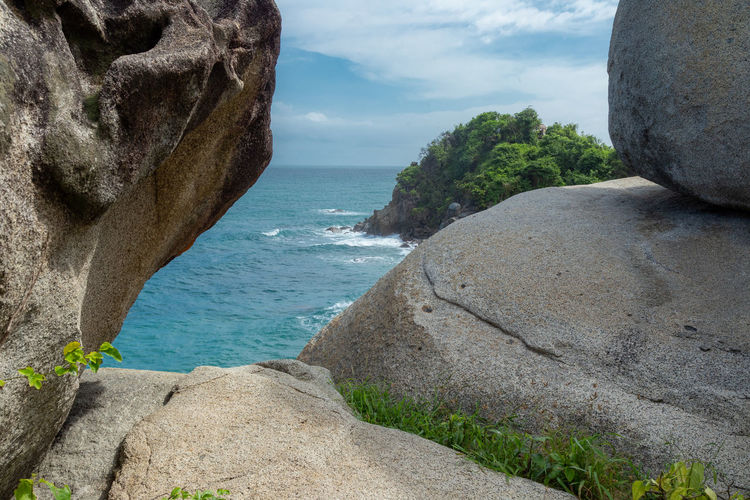 ... Water Rock Sea Rock - Object Solid Sky Nature Beauty In Nature Rock Formation Horizon Over Water Stack Rock Cloud - Sky