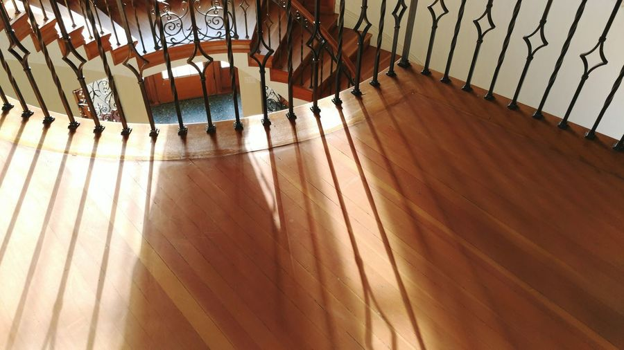 Low angle view of wooden floor in building