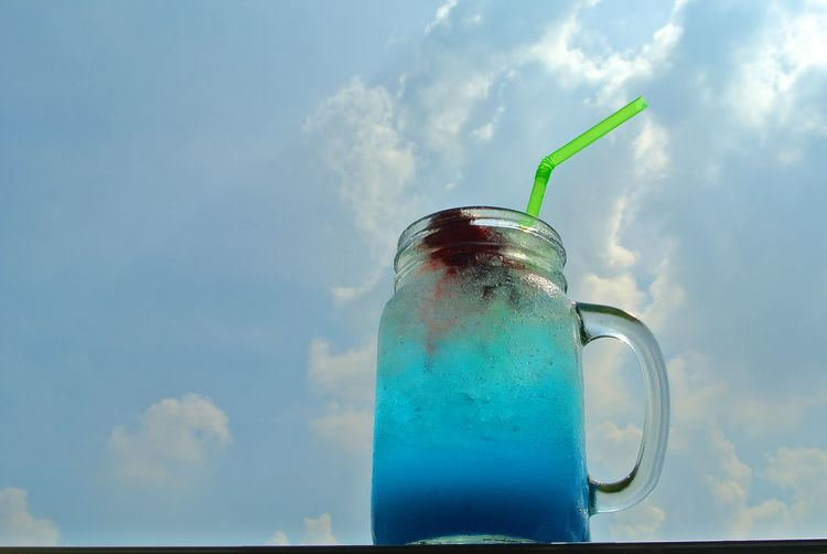 blue hawaiian Blue Blue Hawaii Blue Hawaiian Close-up Clouds And Sky Day Detox Drink Drinking Glass Drinking Straw Food And Drink Food Photographer Freshness Healthy Eating No People Outdoors Refreshment S Sky Water