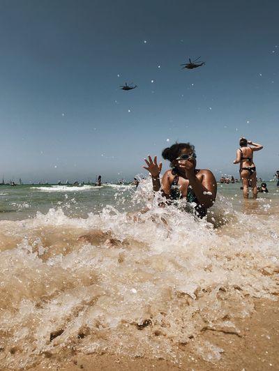 Splash! מייתלאביב מיייוםהעצמאות מייים מייאייפון10 ShotOnIphone IPhoneX Water Sky Nature Sea Land Motion Splashing Wave Outdoors Beach Summer Exploratorium Focus On The Story