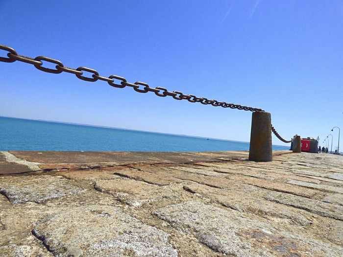 Sea Clear Sky Water Horizon Over Water Beach Outdoors Day Nature Blue Sky No People Architecture Groyne Beauty In Nature Close-up France Travel Destinations Cancale Bretagne Breizh Mer Bretagnetourisme Digue Port Clear Sky