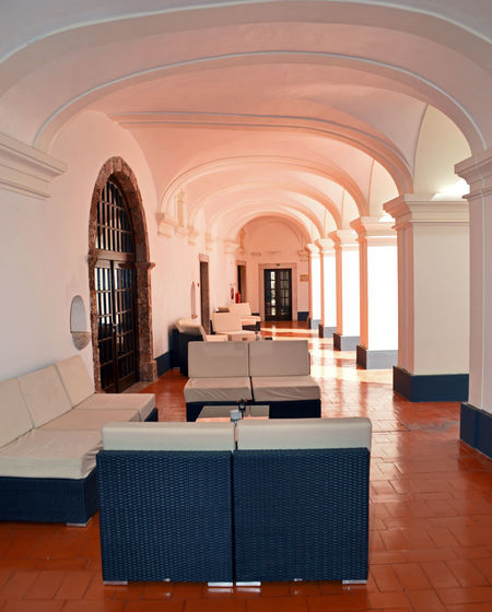 Portugal Arcade Arch Architecture Ceiling Chair Corridor Flooring Furniture Hotel Indoors  Luxury No People Pousada  Seat Sofa Tiled Floor Wealth