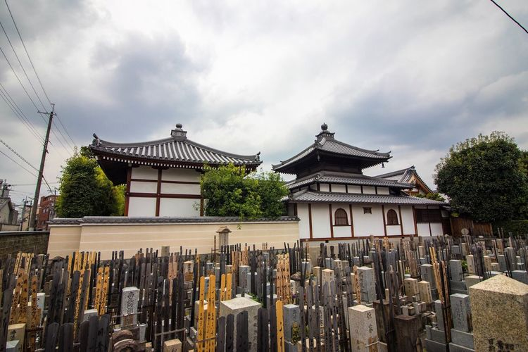 Exterior of traditional temple against cloudy sky
