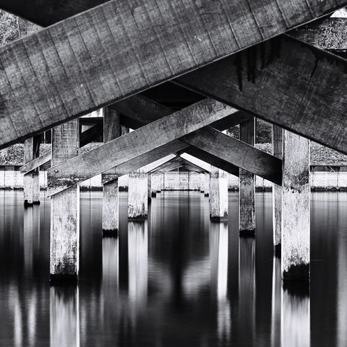 Bnwphotography Bnw Pier Long Exposure Architecture Built Structure Connection Reflection Indoors  Bridge Transportation No People Water Underneath