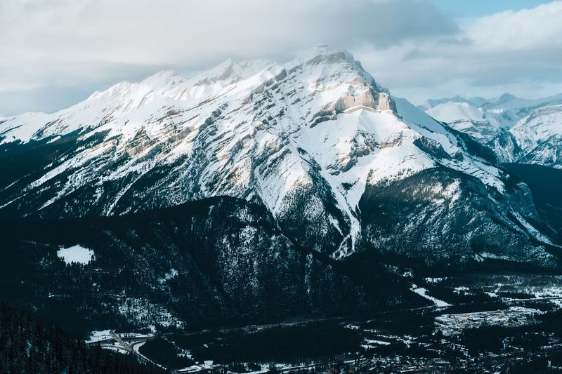 Banff. Mountain Beauty In Nature Winter Cold Temperature Snowcapped Mountain Snow Scenics - Nature Mountain Peak Non-urban Scene No People Environment Tranquility Tranquil Scene Mountain Range Sky Nature Cloud - Sky Day Outdoors Landscape