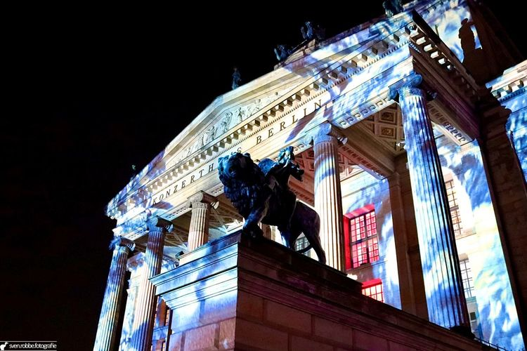 Architecture Art Berlin Famous Place Festival Of Lights Historic History Illuminated Konzerthaus Berlin Lion Low Angle View Monument Outdoors Sculpture