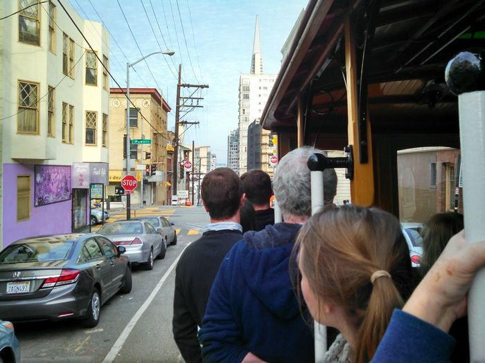 San Francisco Cable Car Riding On The Way Travel Exploring California Capture The Moment Enjoying Life Mobile Photography Lobuephotos Motorola Eyeem Photography Eye4photography  Eyeem California Smartphonephotography From My Point Of View Tourist Destination Hanging Out People Together