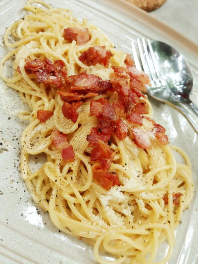 Food Pasta Food And Drink Close-up Plate Ready-to-eat Savory Food Indoors  Freshness No People Italian Food Spaghetti Day Carbonara Bacon