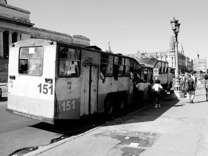 Black And White Photography Cuba Cuba Streets Cuba Bus Bus StationCity Street Black & White Outdoors Bus Transportation