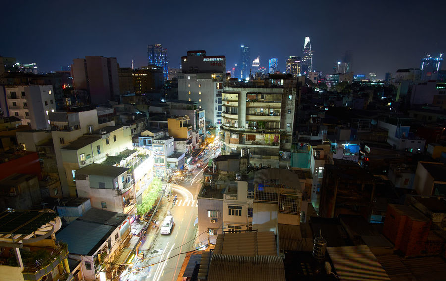 Architecture Building Exterior Built Structure City Cityscape Ho-Chi-Minh City Illuminated Night No People Outdoors Sky Town