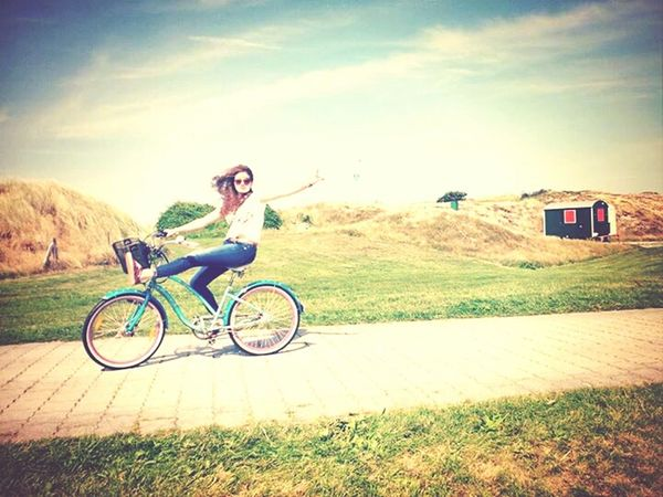 having some fun on a bicye tour at the last sunny autumn day Fun Bicycle Autumn Sunny Day