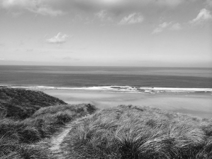 To the beach Summertime Relaxing Black & White Perranporth Cornwall Beach Nature