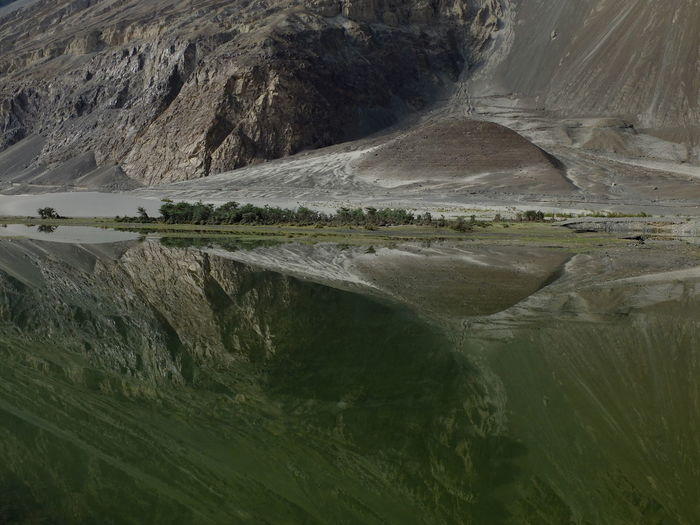 Reflection Of Mountain On Lake At Nubra Valley