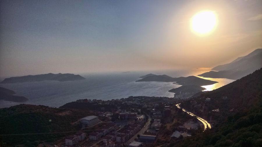 Turkey Antalya Kas City Mountain Cityscape Sea Sunset High Angle View Sky Calm Sun