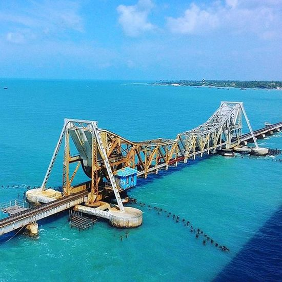 Cantilever Railway Bridge (Pamban Bridge) from the mainland of India to the Rameswaram Island. Solotrip Rameswaram Cantilever Railway Bridge India Beautiful View Breathtaking View Off The Mainland