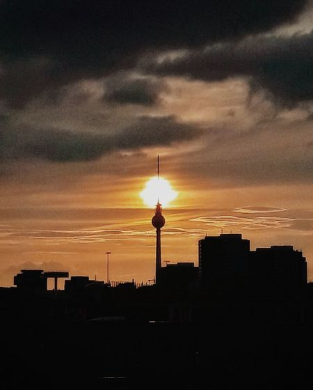 Berliner eclipse Sunset Architecture Building Exterior Built Structure Tower Communication Travel Destinations Television Industry Silhouette Sky City Outdoors Nature No People Cityscape Day Berlin Architecture Urban Skyline City Illuminated Berlin Love