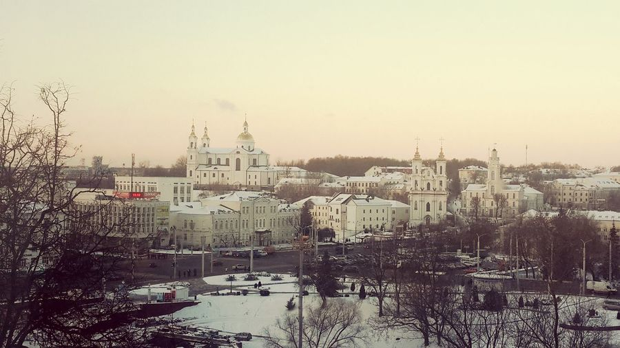 Winter Sky Weather Sunset Fog Cold Temperature Travel Snow Travel Destinations City Morning No People Tree Transportation Outdoors Cloud - Sky Nature Scenics Cityscape Day Vitebsk