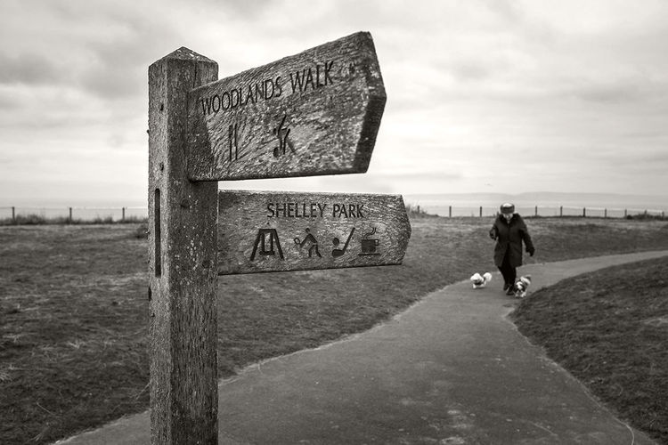 Lunchtime on the cliff tops at Boscombe. Black & White Fujifilm Dorset Dog Walking