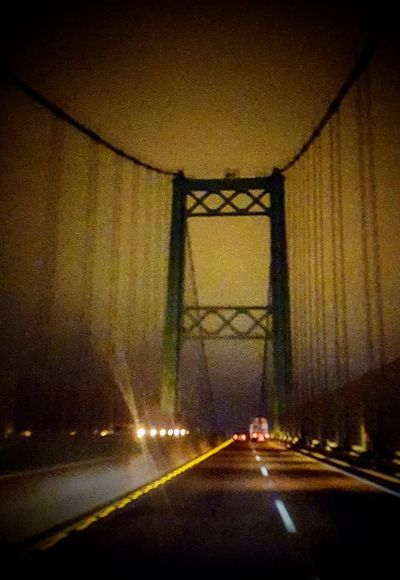 Foggy Night Crossing The Vincent St Thomas Bridge MeinAutomoment Travel Travel Photography Night IShootFromMyWheelchair Night Photography Driving Bridge Suspension Bridge Fog Foggy Weather Historical Outdoor Photography Perspective My Perspective