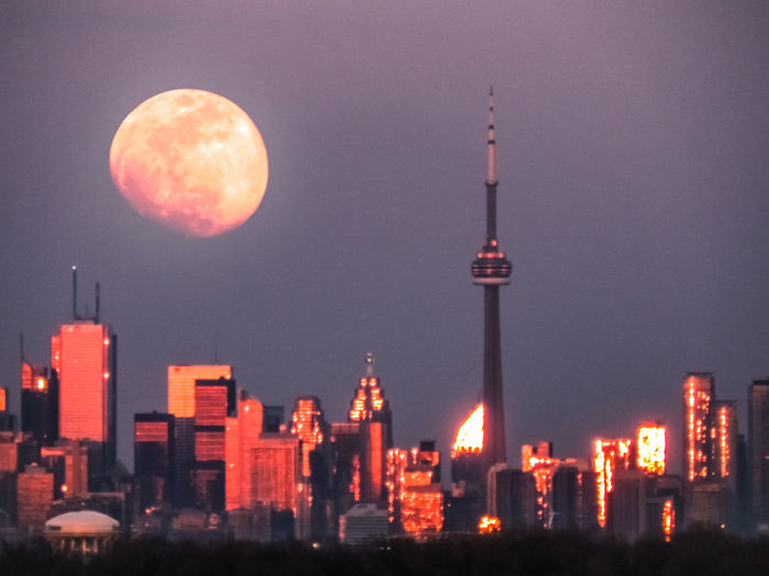 Moonrise Over Toronto (Composite) Architecture Check This Out City Exceptional Photographs Hanging Out Hello World Moon Nature Relaxing Taking Photos Building Exterior Built Structure Canada Coast To Coast Cloud - Sky Day Enjoying Life Landscape Night No People Outdoors Sky Skyporn Sunset Tower Travel Destinations